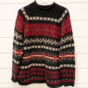 EDDIE BAUER Norwegian Pattern Cotton Sweater